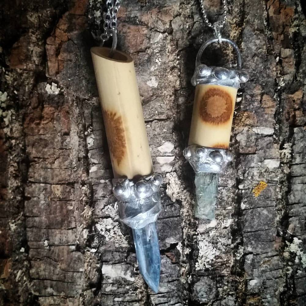 Bamboo & Kyanite (Green & Blue) Necklaces
