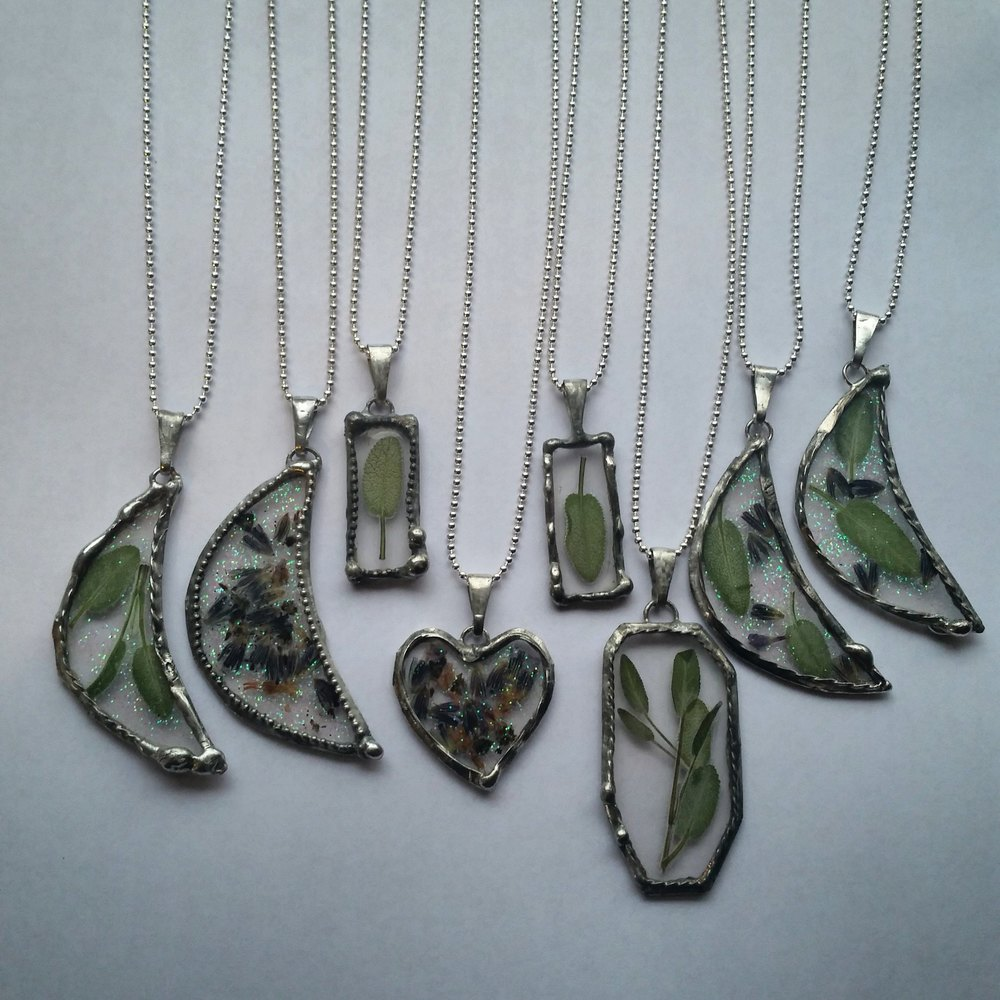 Baby Sage, Lavender & Fairy Dust necklaces