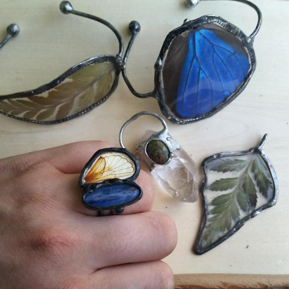 Fern Pendant & Cuff, Blue Morpho Butterfly Wing Cuff, Cicada Hind Wing & Blue Kyanite Ring