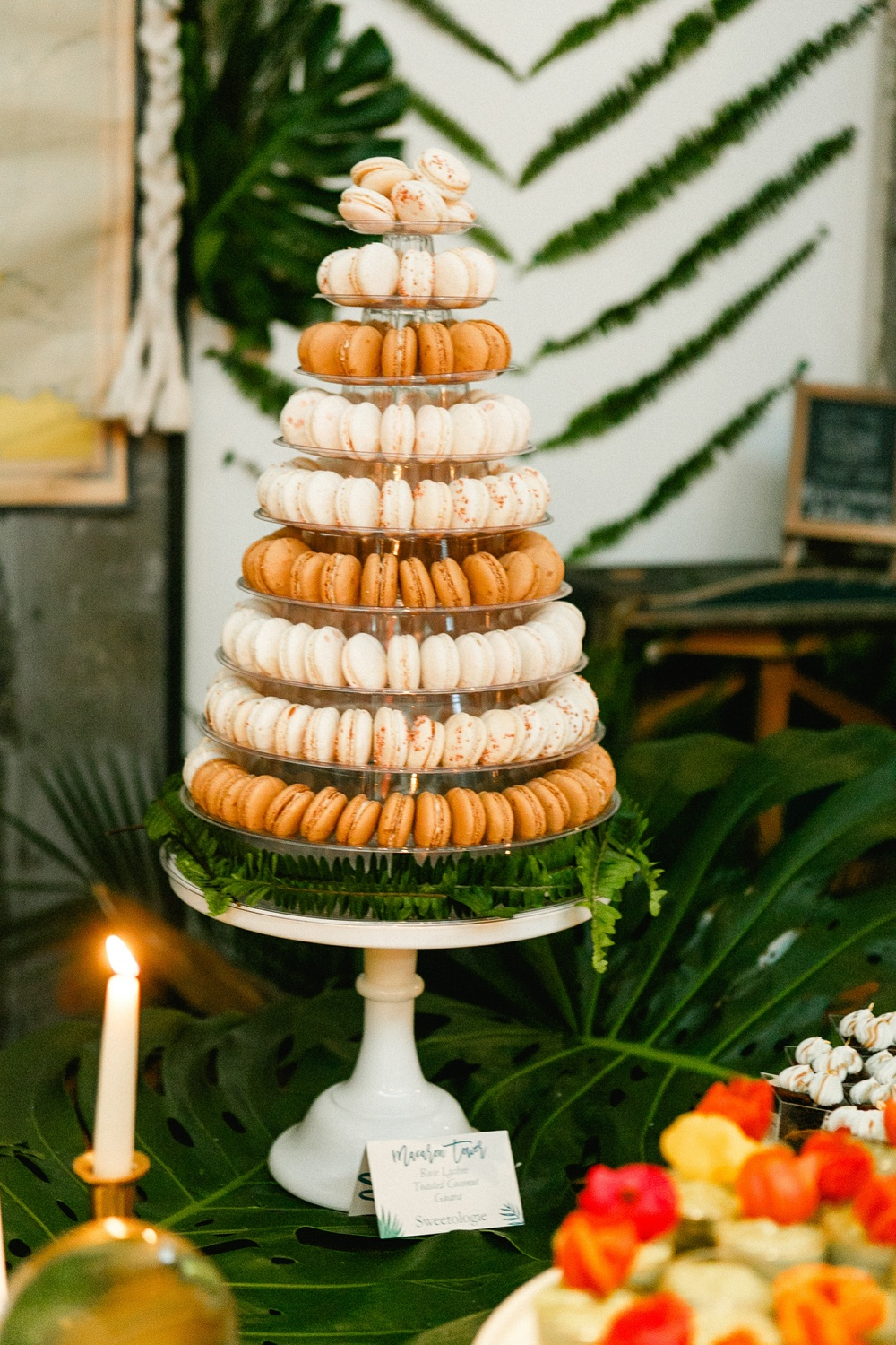 Macaron tower displaying 200 mini macarons