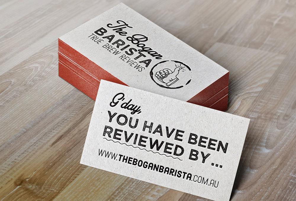 The B  ogan Barista letterpress business card