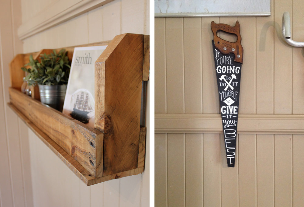 Cabin Club | Left: Reclaimed Pallet Shelf Right: Hand Painted Saw