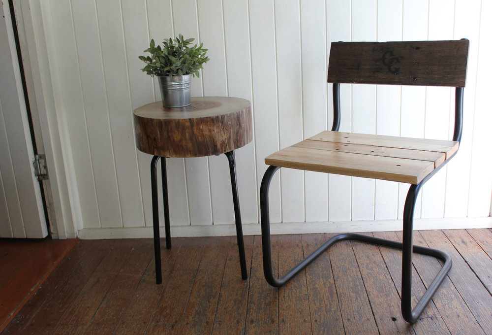 Cabin Club |  Left: Timber Stump Table Right: Reclaimed Timber Stool