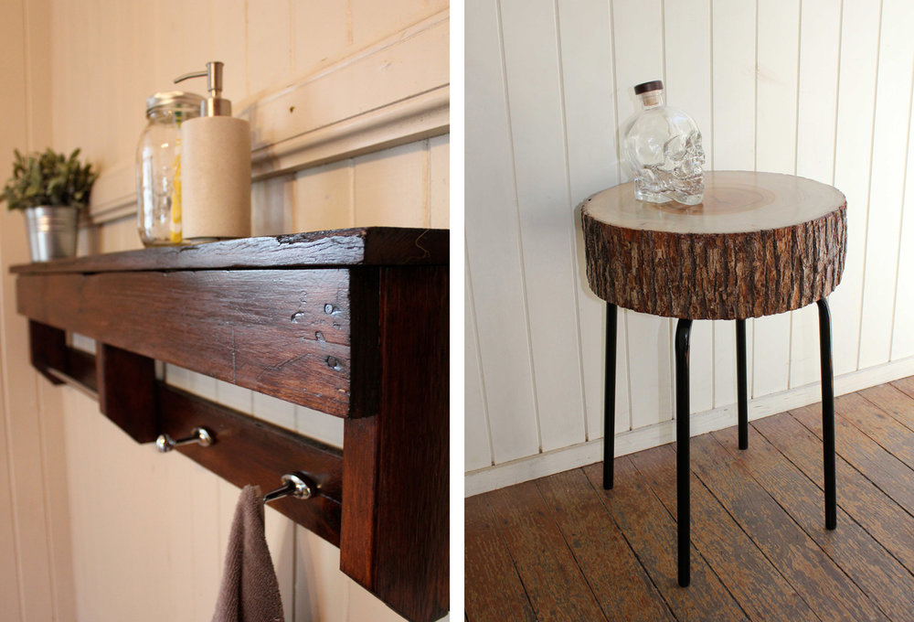 Cabin Club | Left: Reclaimed Timer Shelf Right: Timber Stump Table