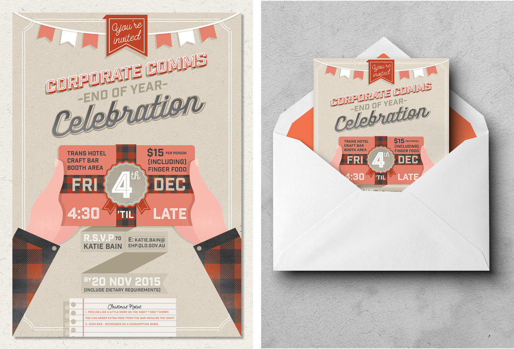 Queensland Government | Corporate Communications Team Christmas Party Invitation