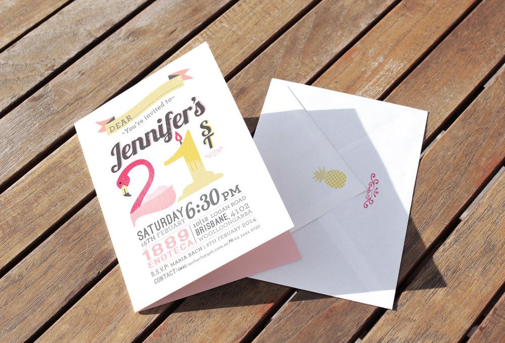 A5 21st Birthday Invitation for Jennifer
