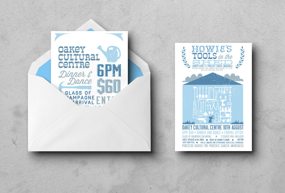 A5 Invitation for Howie's Tools In The Shed Fundraising Event