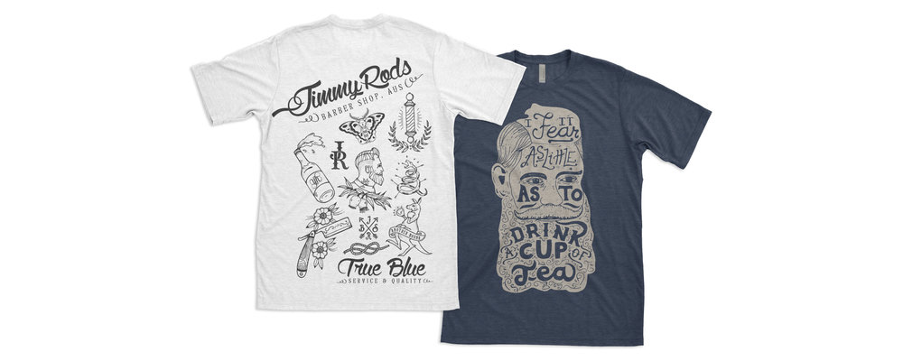 Handdrawn shirt design for Jimmy Rods Supply Co