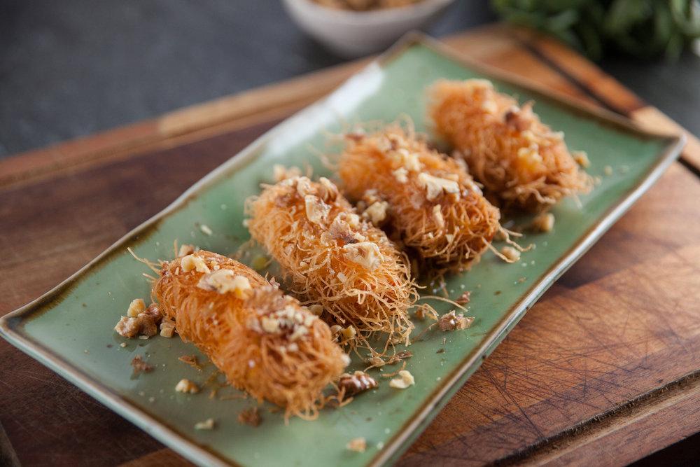 Haloumi kataifi spring rolls
