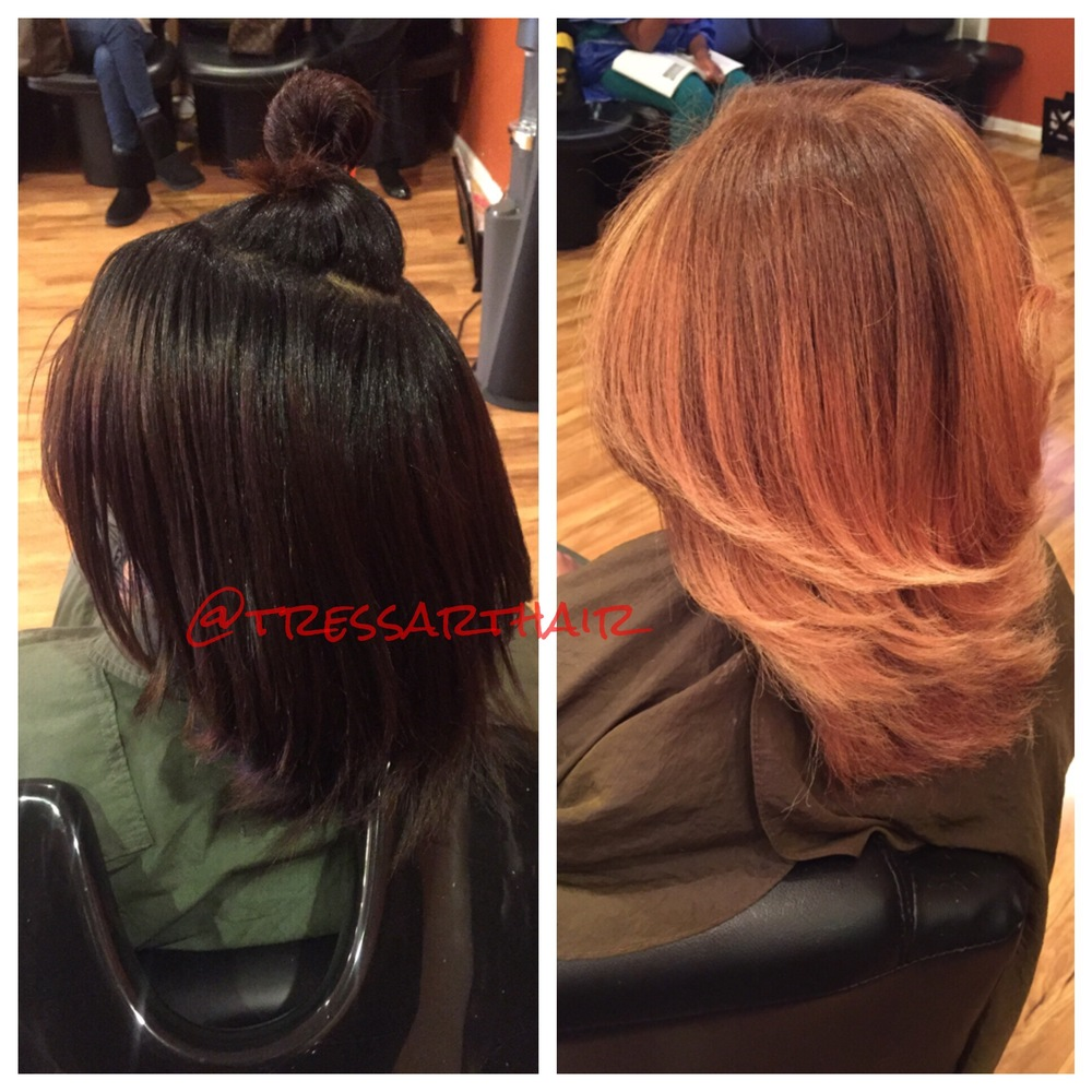 Natural hair. Base change and Balayage highlights. Silk press