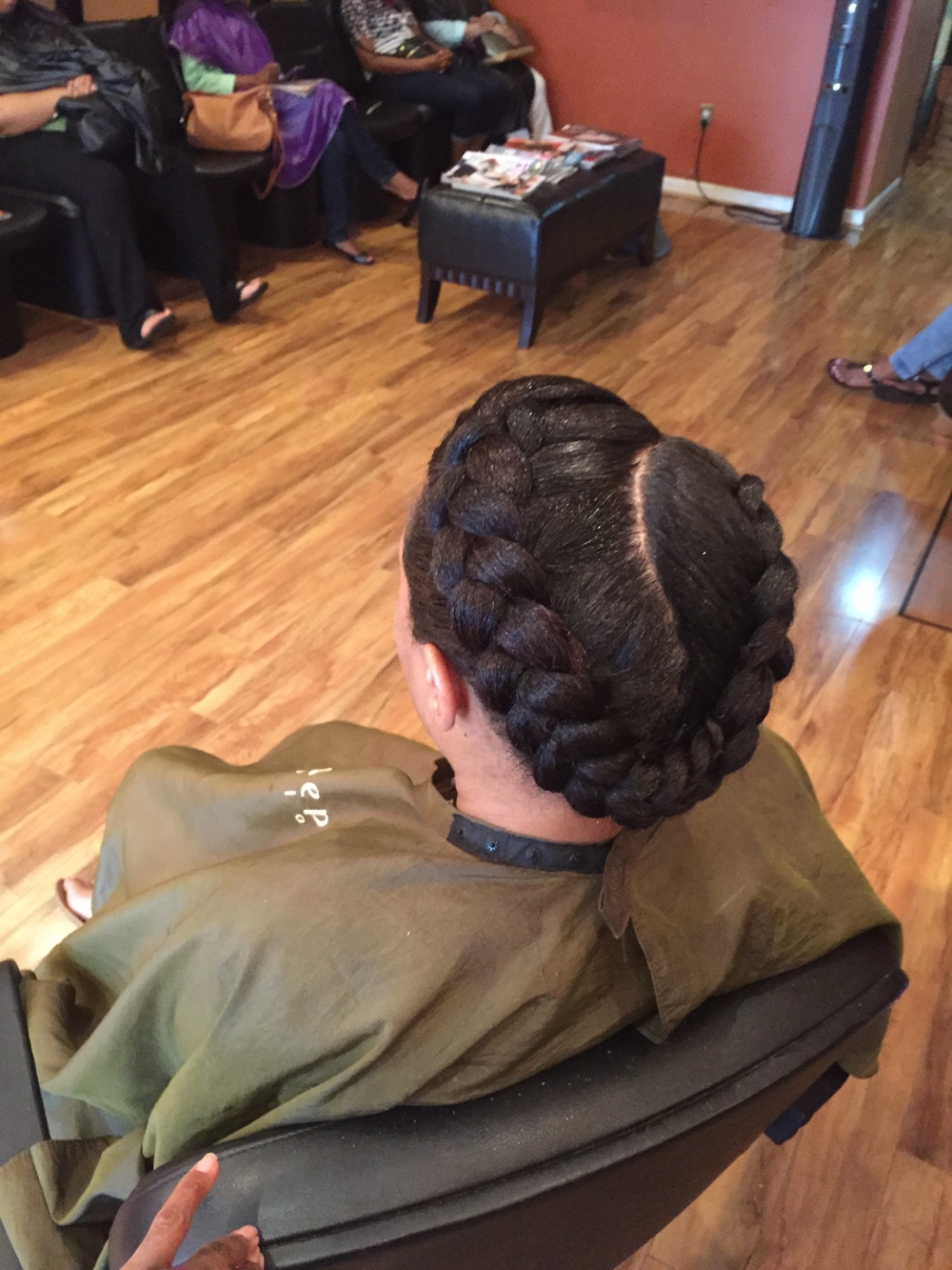 Natural hair. Goddess Braid.