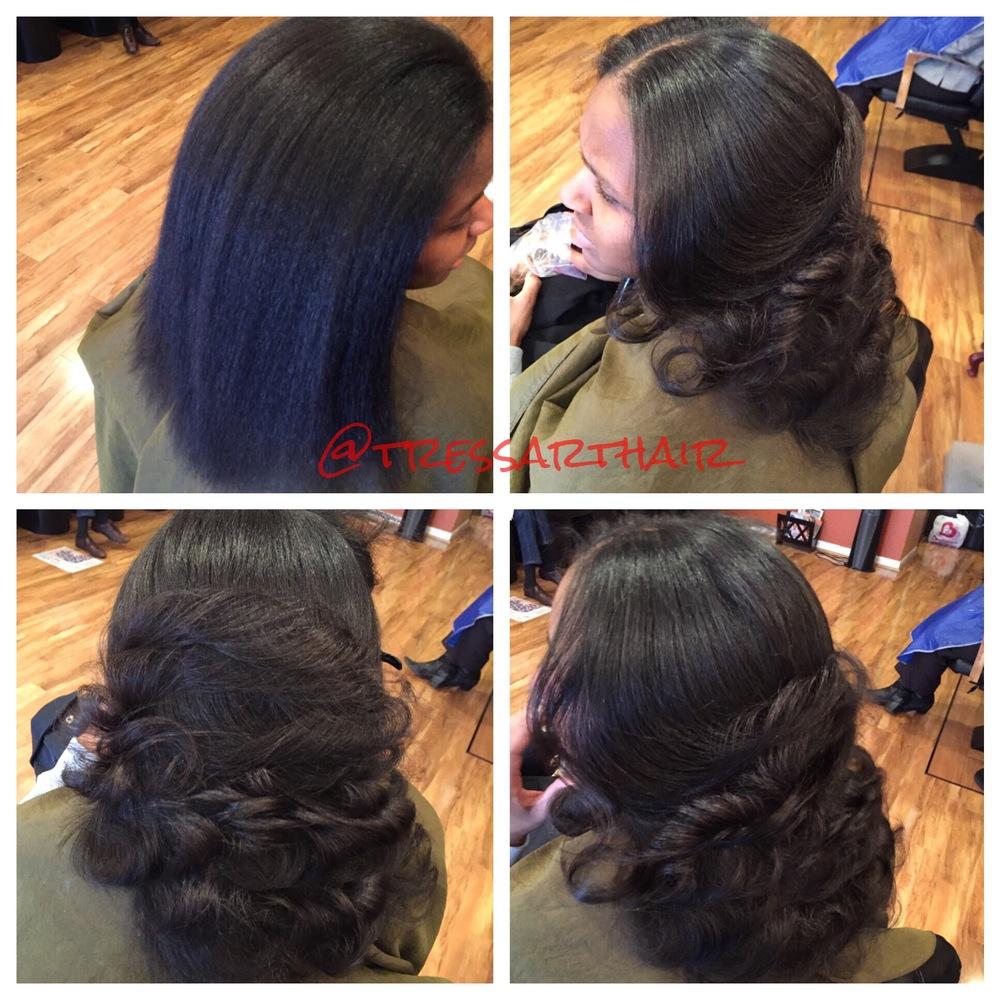 Natural hair. Silk press. Ceramic curled