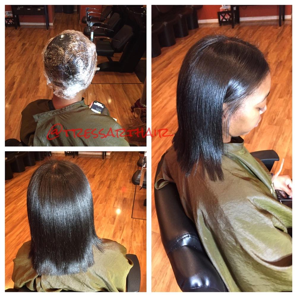 Natural hair. Silk press.Saran wrapped