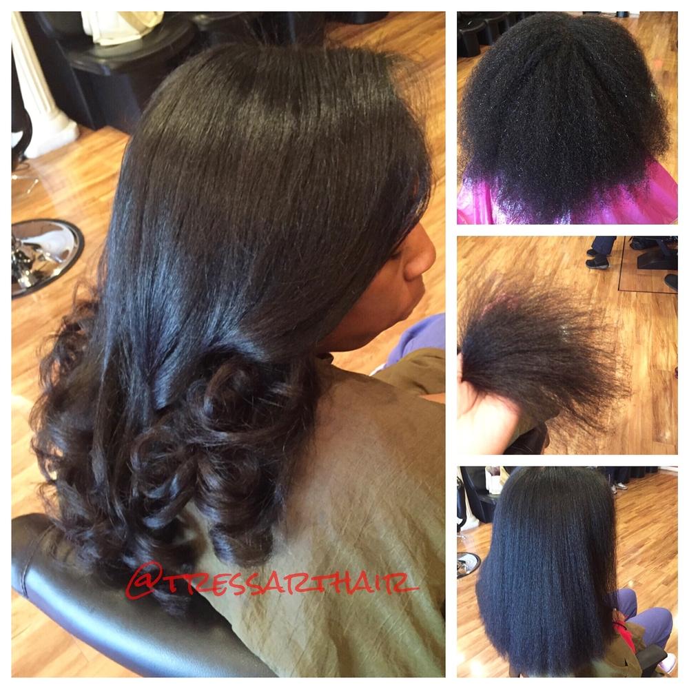 Natural hair. Silk press. Precision Cut.Ceramic curled