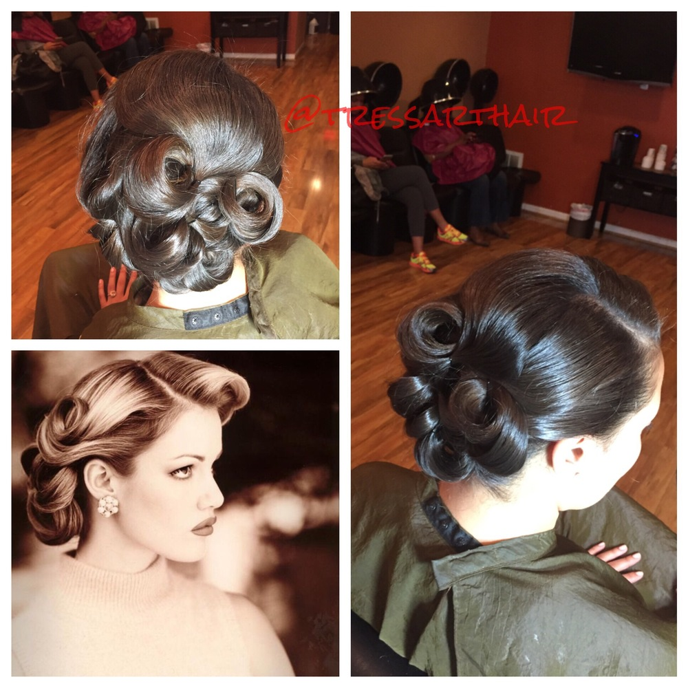 Natural hair. Pin-up up do. Bottom left pic is the inspiration picture.