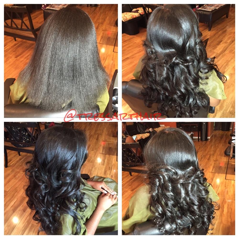 Natural hair. Silk press x Clip-in extensions. Titanium curled