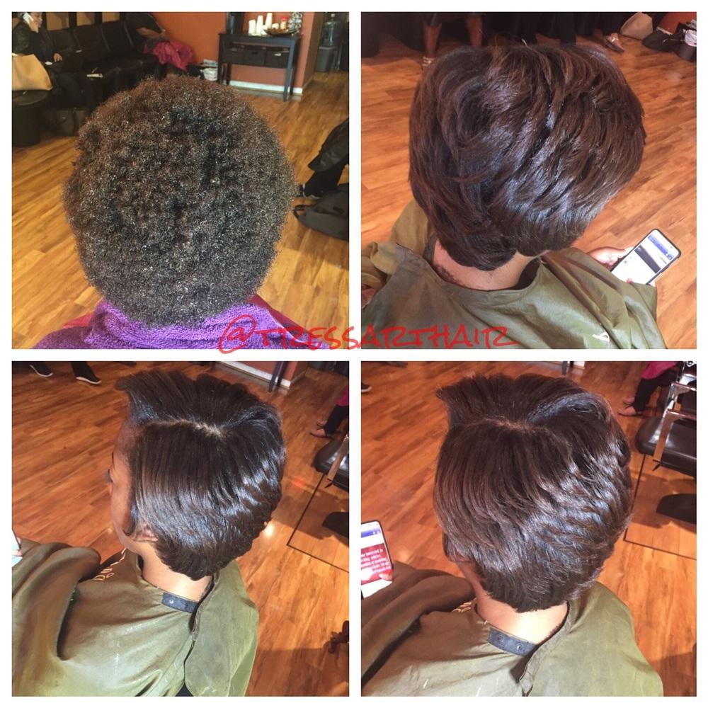 Natural hair. Silk press.Trimmed. Titanium curled. Saran wrapped