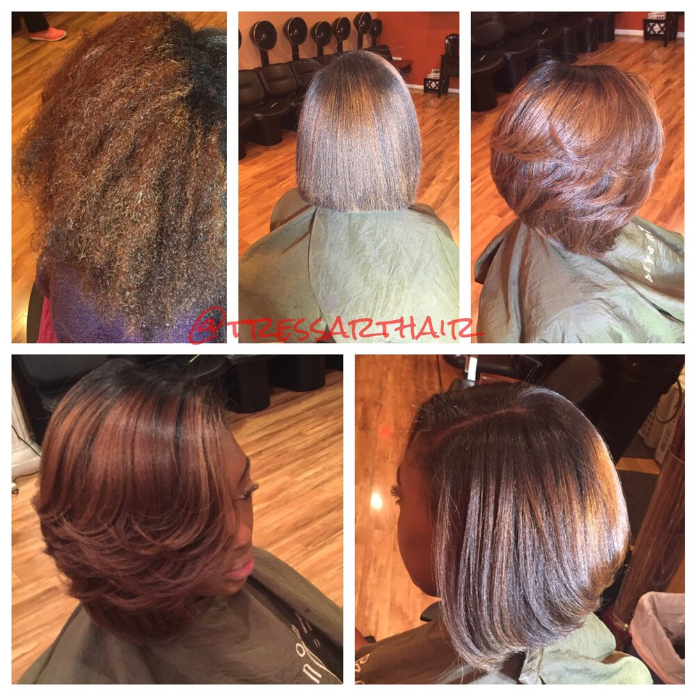 Natural hair. Silk press. Precision cut. Ceramic curled   *Color previously done by another stylist