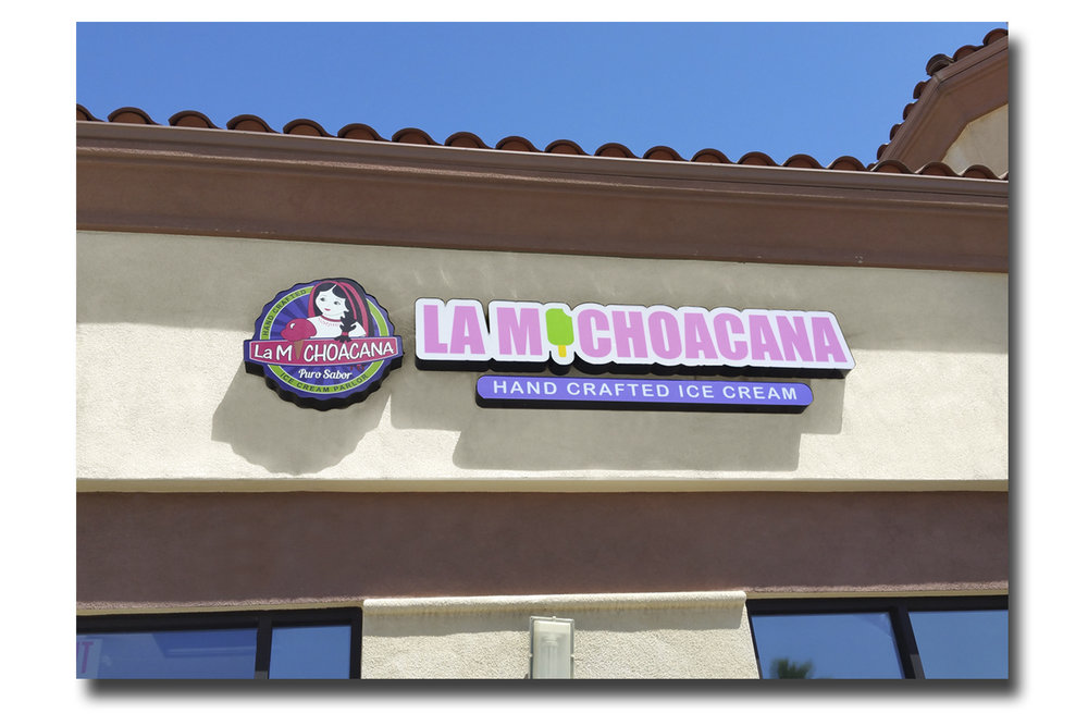 The finished La Michoacana sign installed.