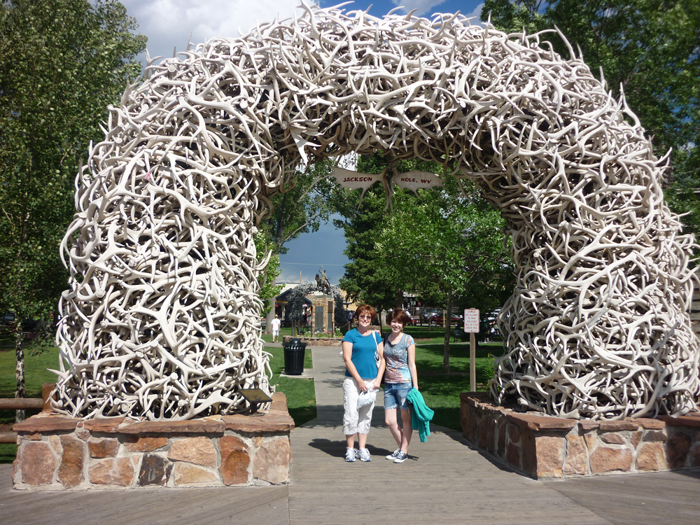 Mom and I under one of the four antler arches in the middle of Jackson Hole.