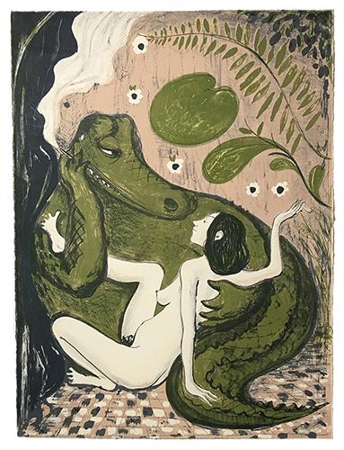 "Sanya Kantarovsky, lithograph on paper, 29.5 x 22"", 2015"