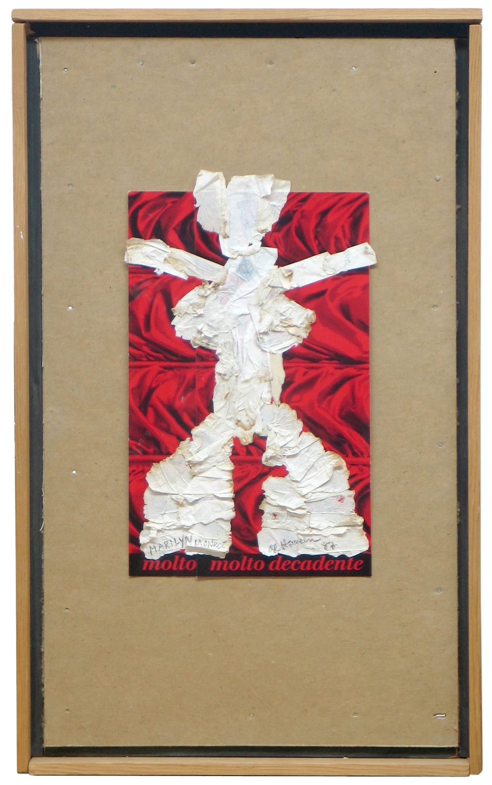 "Al Hansen, Molto Decadente 1, Cigarette paper & collage on chipboard in artist made frame, 16 1/8 x 10"", 1987"