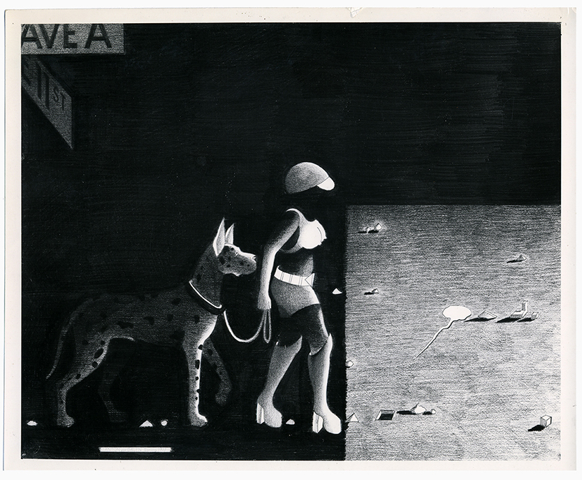 "Anton van Dalen, Street Woman with Dog in Shadow, graphite on paper, 23 x 29"", 1977"