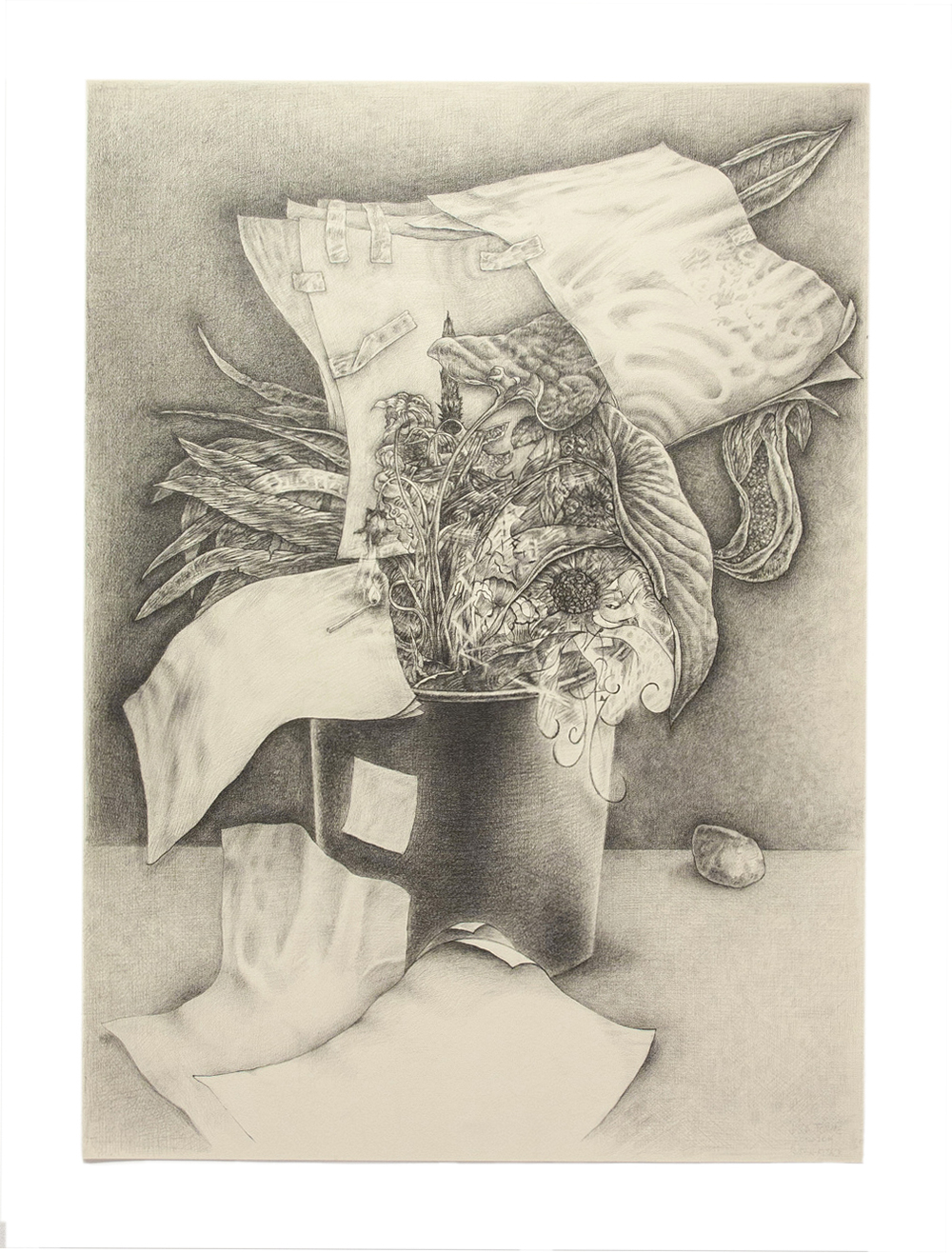 "Jason Tomme, Potted Plants: Rush N Attack, graphite on paper, 22 x 30"", 2014"
