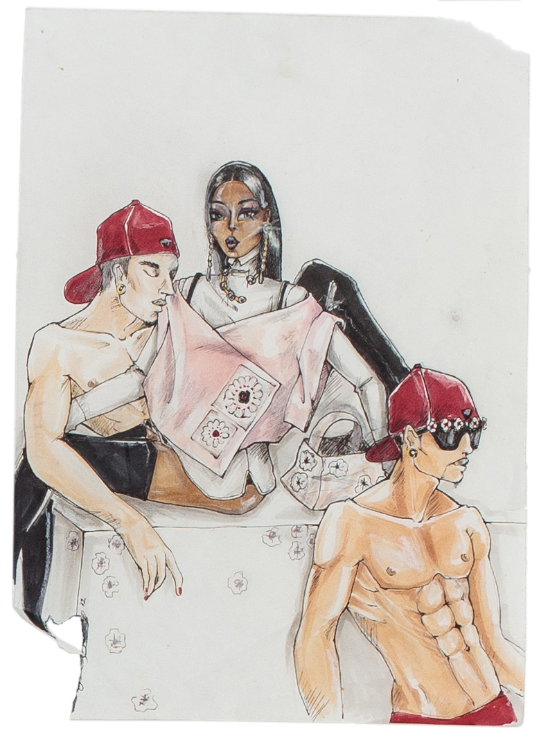 "DeSe Escobar, Prada THOT SS 13 1, pen & graphite on paper, 11.25 x 8"", 2013"