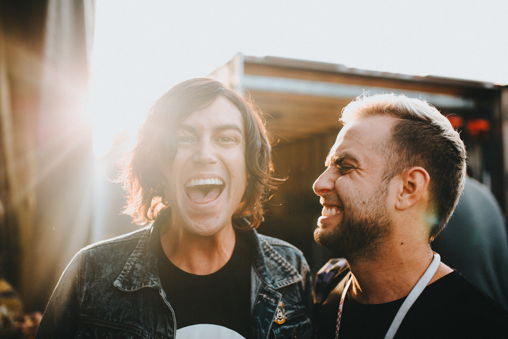 Darien Center, NY.  Tyler Carter from  Issues  and Kellin goofing around backstage. Two incredible vocalists