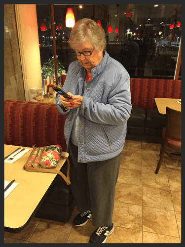 Grandma's second usage of the service was to take us back from Coco's Diner. She ordered a stack of pancakes with extra crispy bacon.