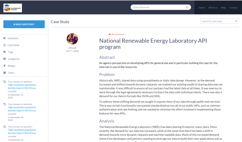 "Sample Case Study - ""National renewable energy laboratory API program"""