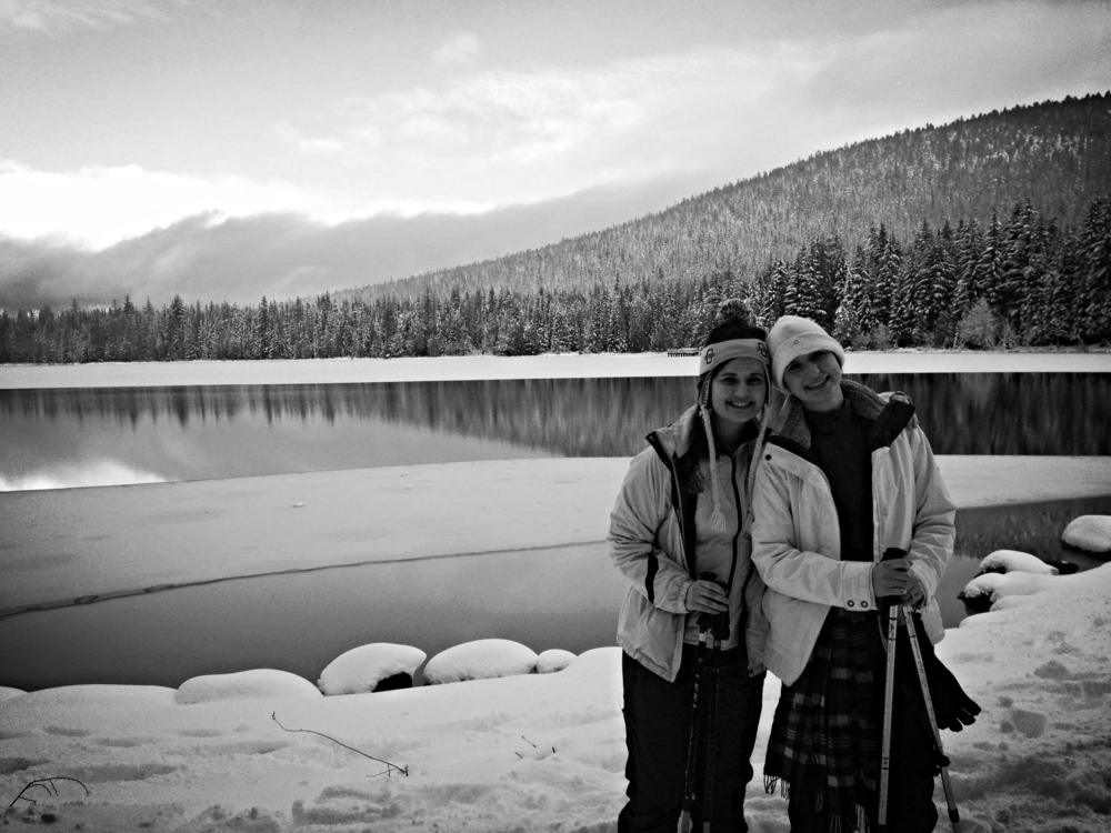 Snowshoeing with Bonnie (on right)around Mount Hood.
