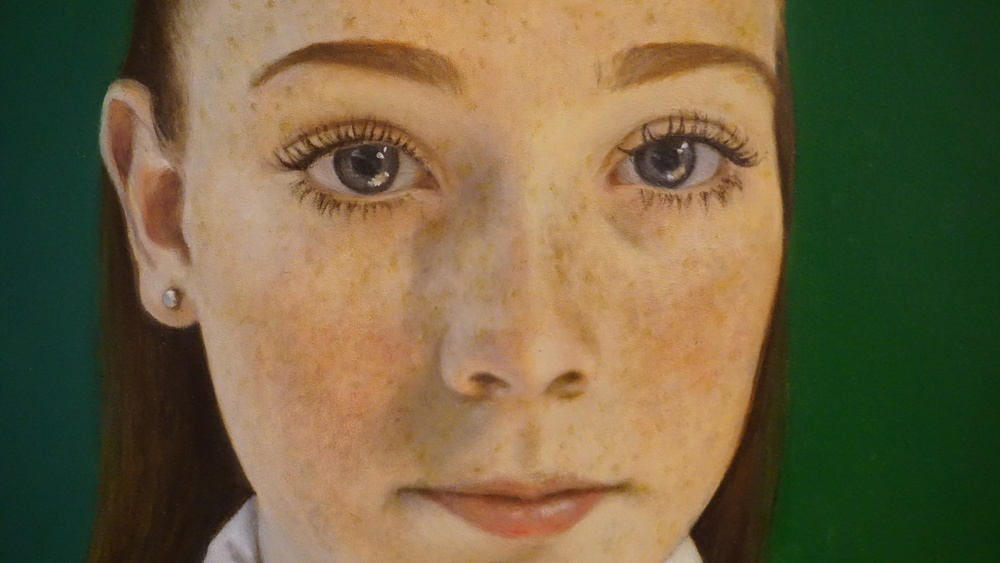 PEARL IN THE MORNING, READY FOR SCHOOL By: Samantha Fellows (Oil on panel)