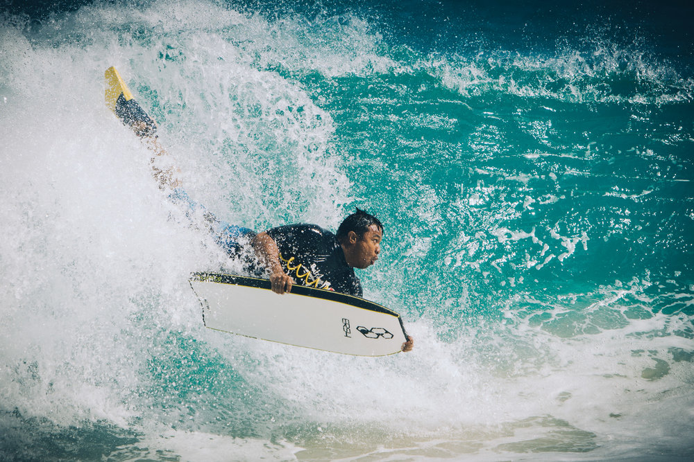 This is me playing in the shorebreak at Sandy Beach in Hawaii. Surfing & Bodyboarding guided me to photography.