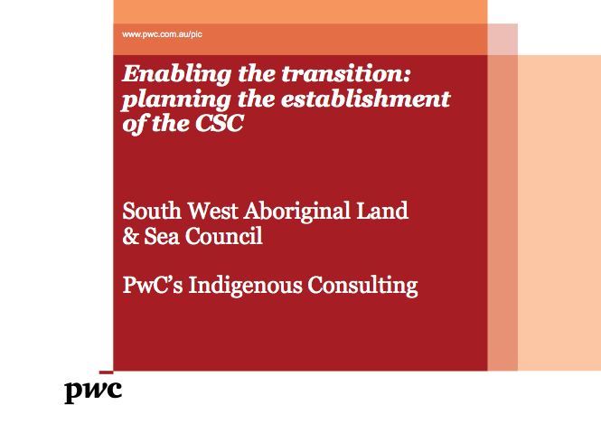 Enabling the transition: planning the establishment of the Central Services Corporation.