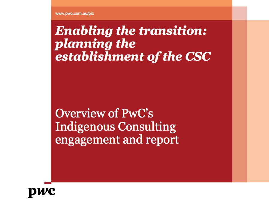 Summary Presentation about Enabling the transition: planning the establishment of the Central Services Corporation.
