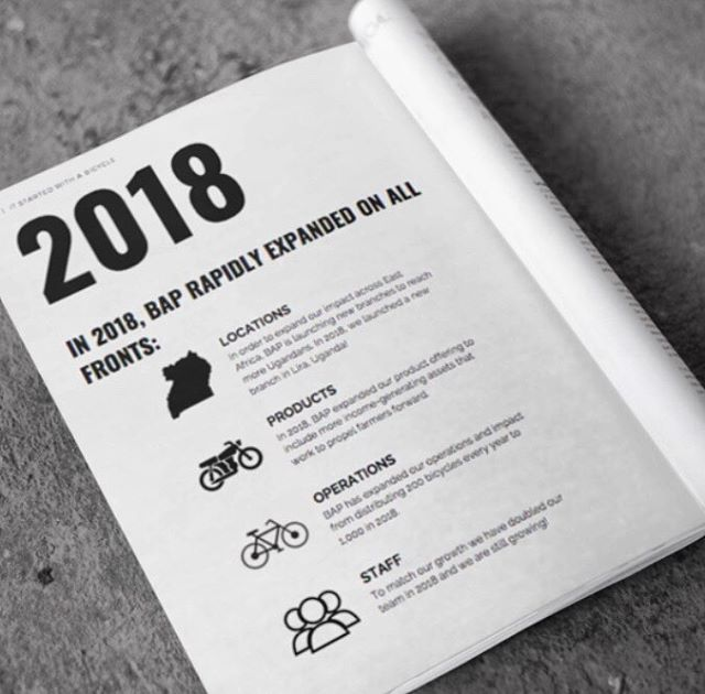 Download our 2018 Impact Report (link in bio) to learn about the journey we took this year and where we are planning on going in 2019! #ItStartedWithABicycle