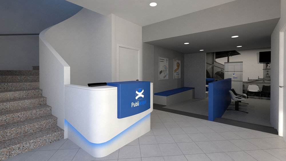 Rendering del Bancone Reception