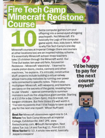 Our Minecraft courses have been featured in the top ten things to do in London with Time Out Magazine.