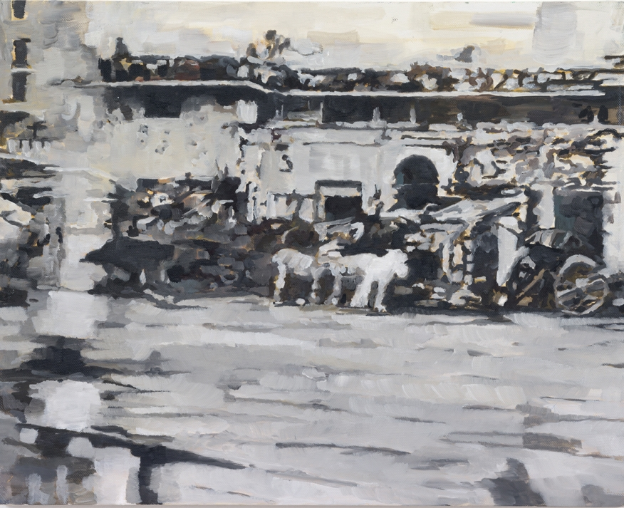 cardrive, india   60 x 80 cm  oil on cotton   1990