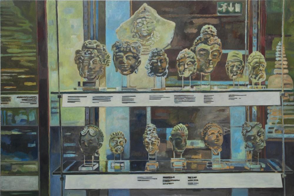 showcase, british museum   tempera & eggtempera on cotton  150x 195 cm   1998