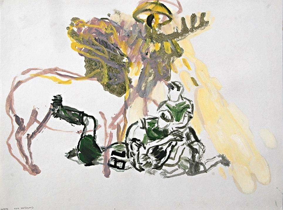 mein deutschland   watercolour & oil on paper  1990