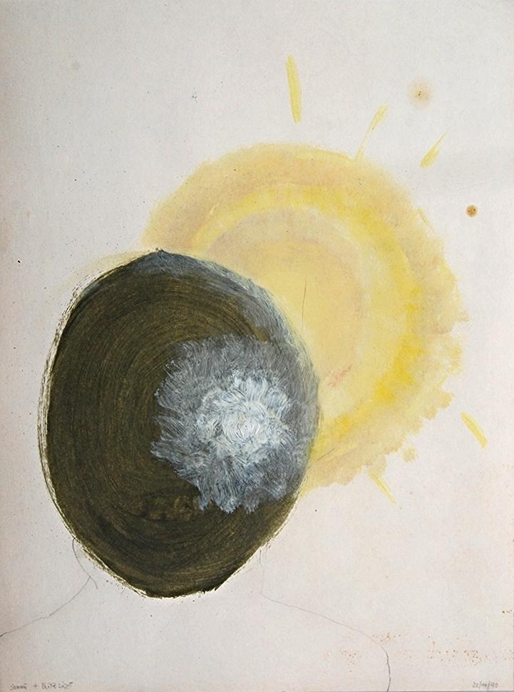 face, between sun & flashlight   oil &pencil on paper  42 x 56 cm   1990