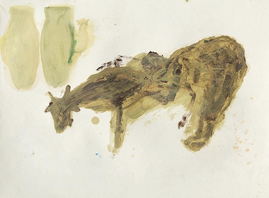 Ziege und Henkel   oil & eggtempera on paper  42 x 56 cm   1990