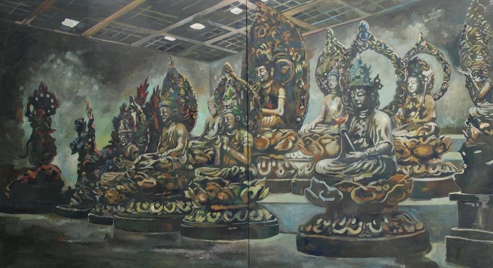 showcase, giumet   oil on cotton  110 x 200 cm   1997/1998