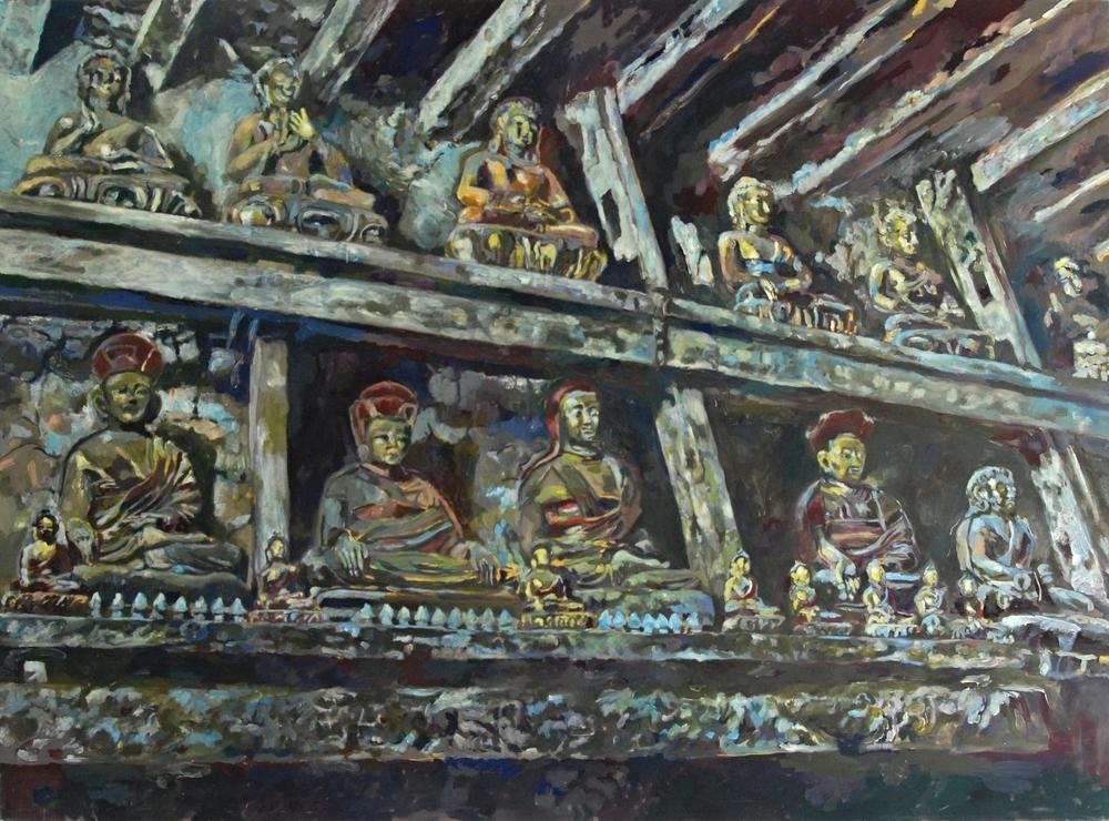 showcase, braga monastry   tempera & eggtempera on cotton  140 x 195 cm  1997