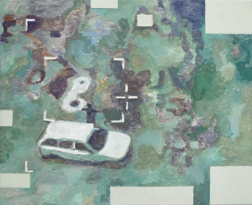 car by drone   tempera on canvas  40 x 50 cm   30/10/14