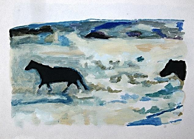 light, horses