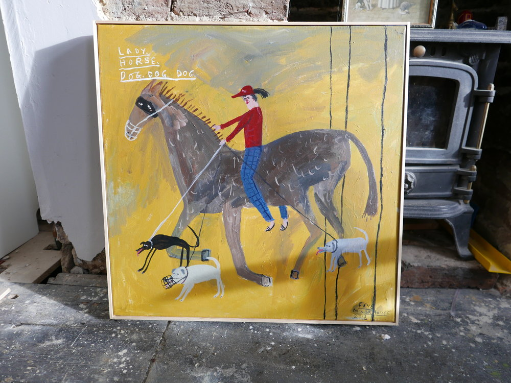'Lady.Horse.Dog.Dog.Dog.' Acrylic paint on canvas.  Presented in a simple handmade wooden frame/ border.  Measures 610 x 610 mm including frame   SOLD